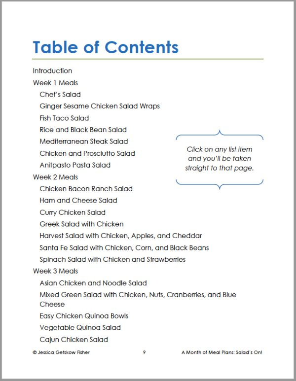 table of contents for salads on, page 1