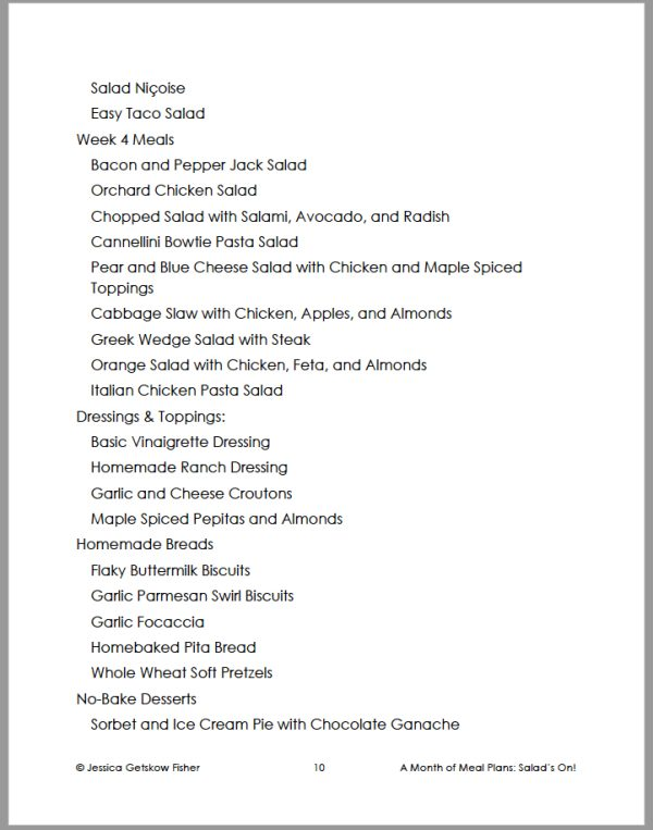 table of contents for salads on, page 2