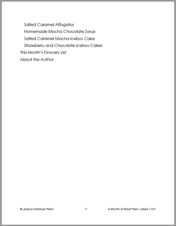table of contents for salads on, page 3