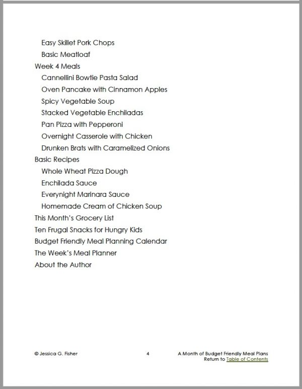 page two of table of contents