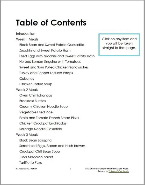 page one of table of contents