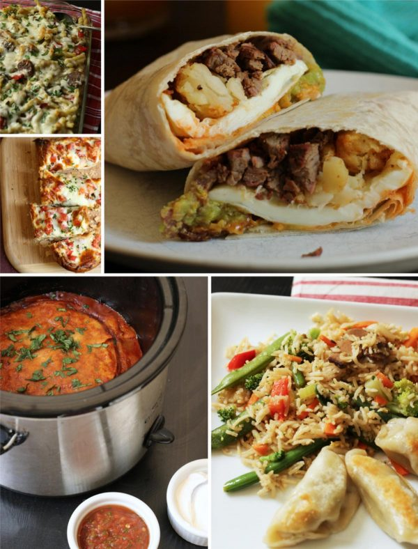 collage of five meals included in plan