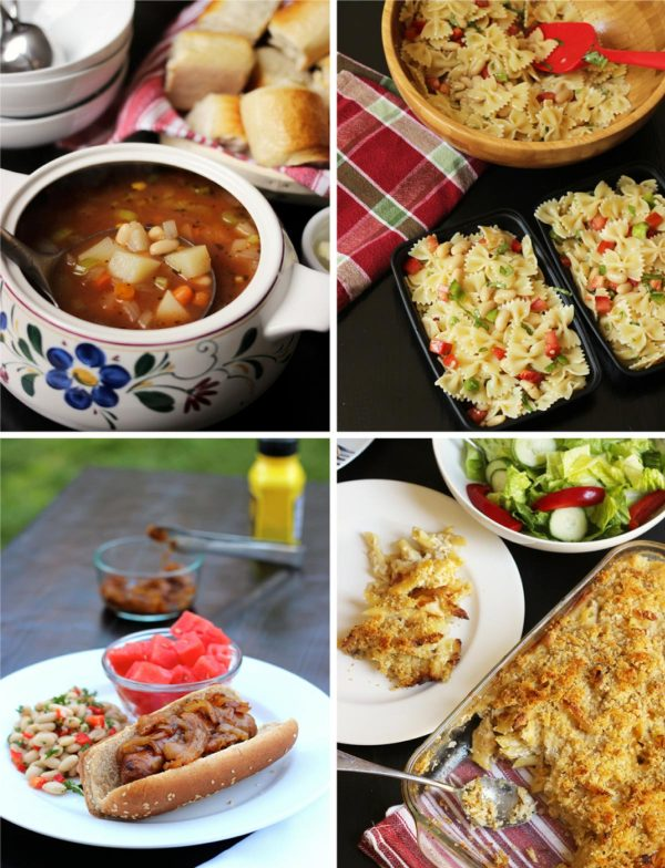 collage of four meals included in plan