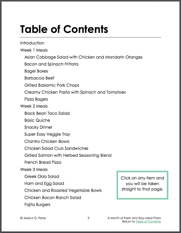 table of contents page 1