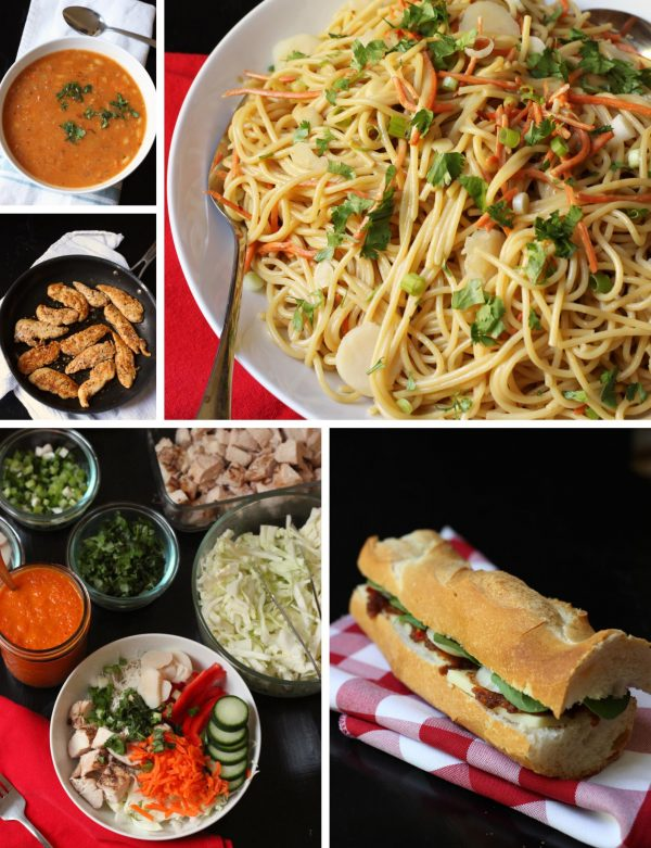 collage of recipes in week 4